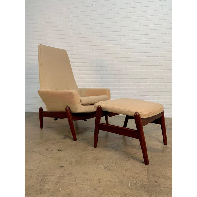 """I.B. Kofod-Larsen high back recliner lounge chair with ottoman, circa 1960. Model PD30 ottoman is 23.5"""" wide, by 20.1/8""""..."""