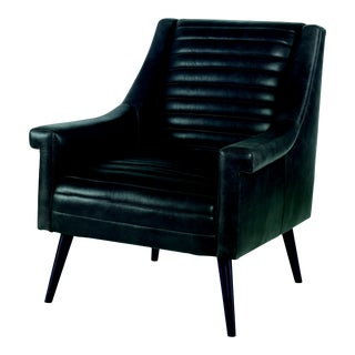 Century Furniture Vinton Chair, Coal Leather For Sale