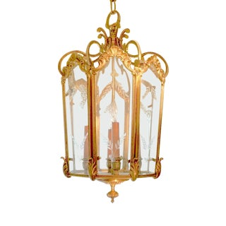 French Bronze Etched Glass Lantern Chandelier For Sale