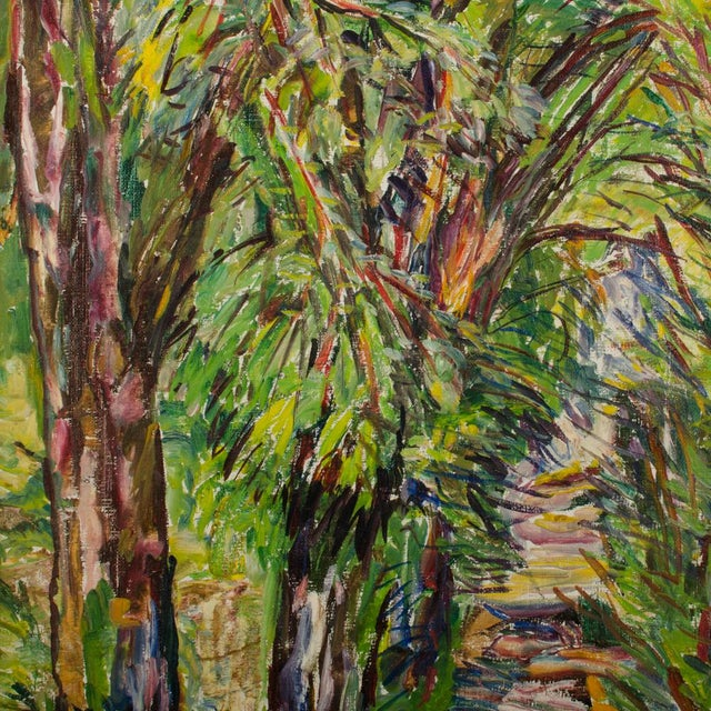 """Canvas Mid 20th Century """"Allee"""" Expressionist Style Forest Landscape Oil Painting by Elisabeth Merlicek, Framed For Sale - Image 7 of 13"""