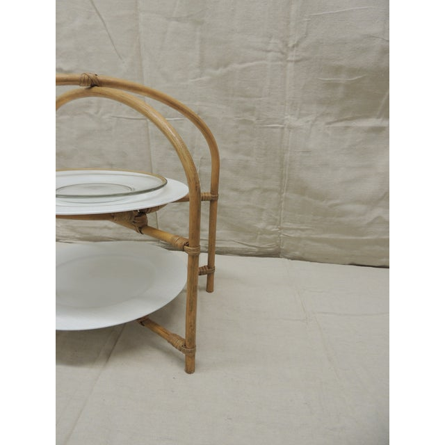 Vintage Bamboo With Rattan Details Two Tier Serving Stand For Sale In Miami - Image 6 of 8