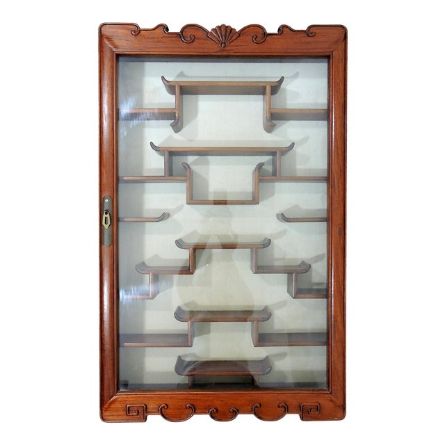 Vintage Chinoiserie Solid Rosewood 'Ming Style' Glass Front Display Wall Cabinet For Sale
