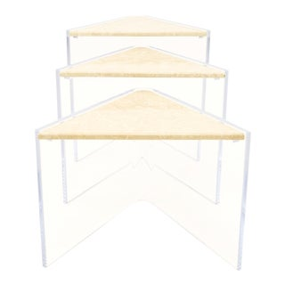 Mid-Century Modern Enrique Garcel Lucite and Marble Nesting Tables - Set of 3 For Sale