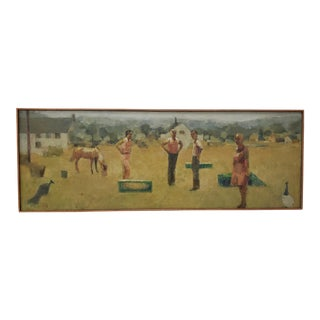 "Jeanne Urich Gorham (American, 20th C.)""Standing Figures"" Original Oil Painting C.1960s For Sale"