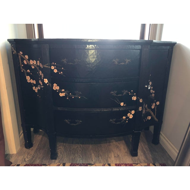 Pink Jardin en Fleur Distressed Black Finish Asian Art Deco Bombay Dresser For Sale - Image 8 of 8