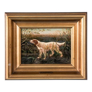 19th Century Antique Otto Bache Hunting Dog Danish Small Oil Painting For Sale