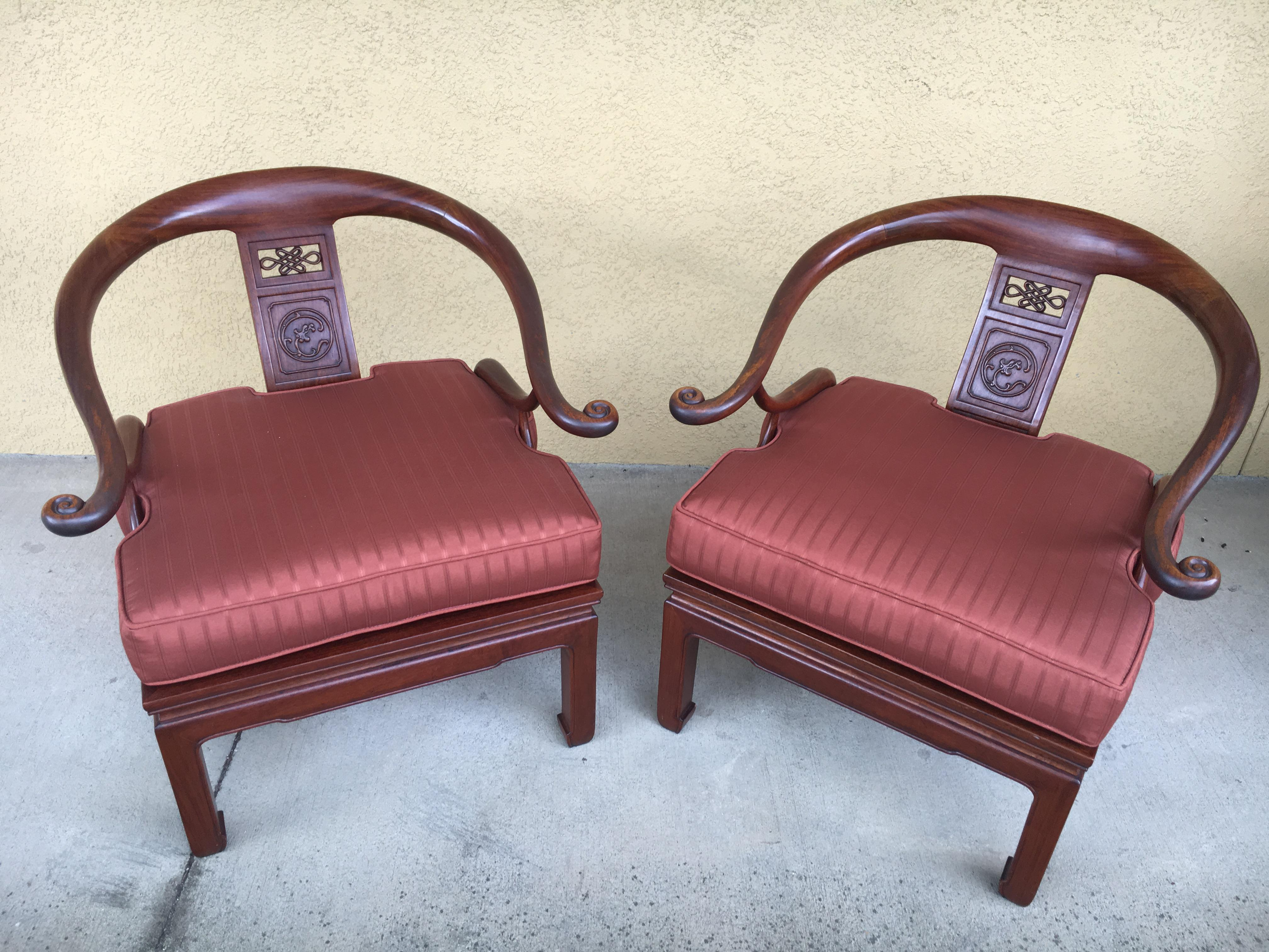 A Pair Of 1970u0027s Asian Inspired Ming Chairs Believed To Be Made With  Rosewood,