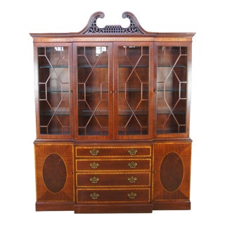Baker English Chippendale Style Banded Mahogany Breakfront China Display Cabinet For Sale