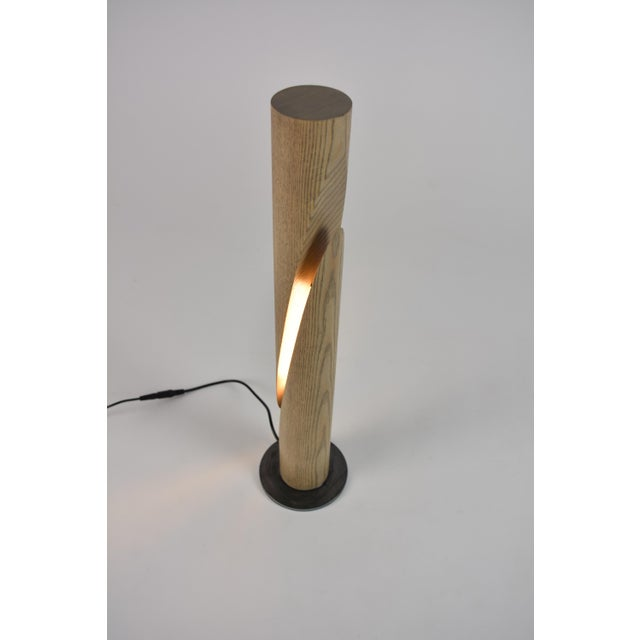 Not Yet Made - Made To Order Cleave - Ash Wooden Dowel Table Led Lamp With Steel Base For Sale - Image 5 of 6