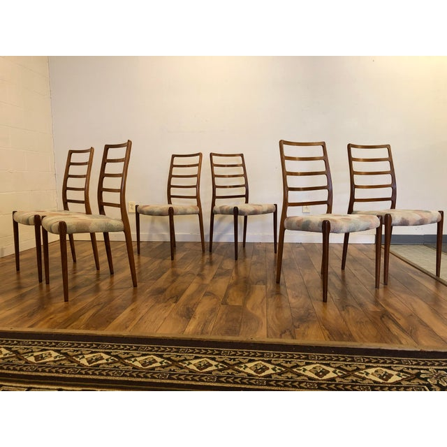 Set of six phenomenal Model 82 rosewood side chairs designed by Niels Møller for JL Moller, beautifully made and very...