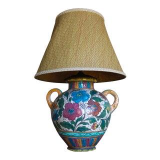 Monumental Antique Italian Monteluce Deruta Majolica Faience Vase Urn Lamp With Sgraffito