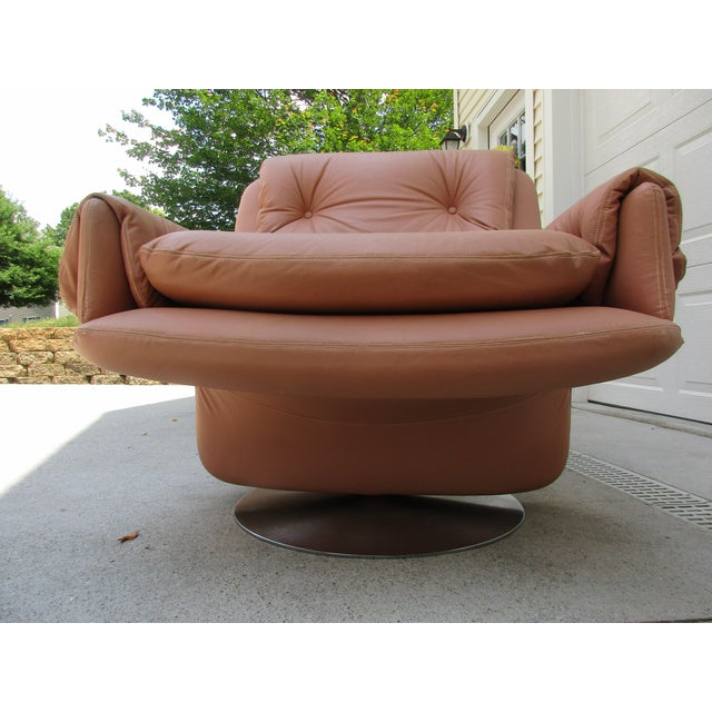 Mid-Century Modern Swivel Lounge Chairs on Unique Cantilever Base -A Pair For Sale - Image 12 of 13