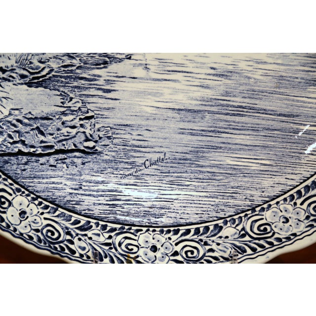Delft Early 20th Century Dutch Hand-Painted Bosh Delft Platter With Pastoral Scene For Sale - Image 4 of 8