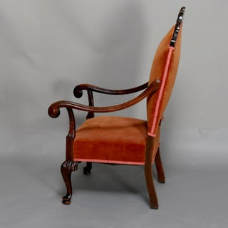 Mid 19th Century Antique French Regence Style Carved Mahogany and Upholstered Chair Preview