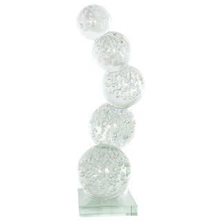 Modernist Hand Blown Murano Translucent Bubble Glass Stacked Spheres Sculpture For Sale