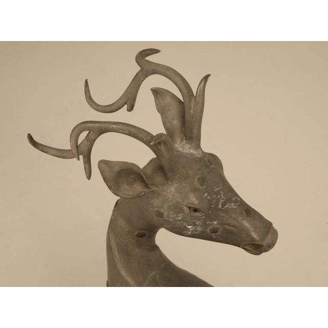 French C.1930's French Zinc Stag Sculpture With Bronze Rosettes For Sale - Image 3 of 10