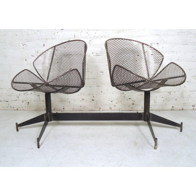 Vintage Industrial Two-Seat Bench For Sale - Image 9 of 9