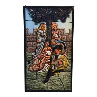 Mid 20th Century Jose De La Silva Stained Glass Minstrel Panel For Sale