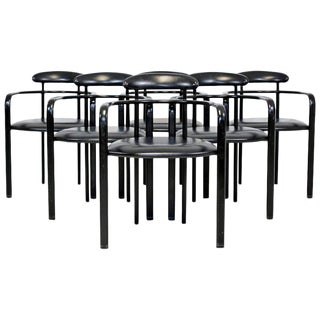 1970s Mid-Century Modern Memphis Loewenstein Black Leather Dining Armchairs - Set of 6 For Sale