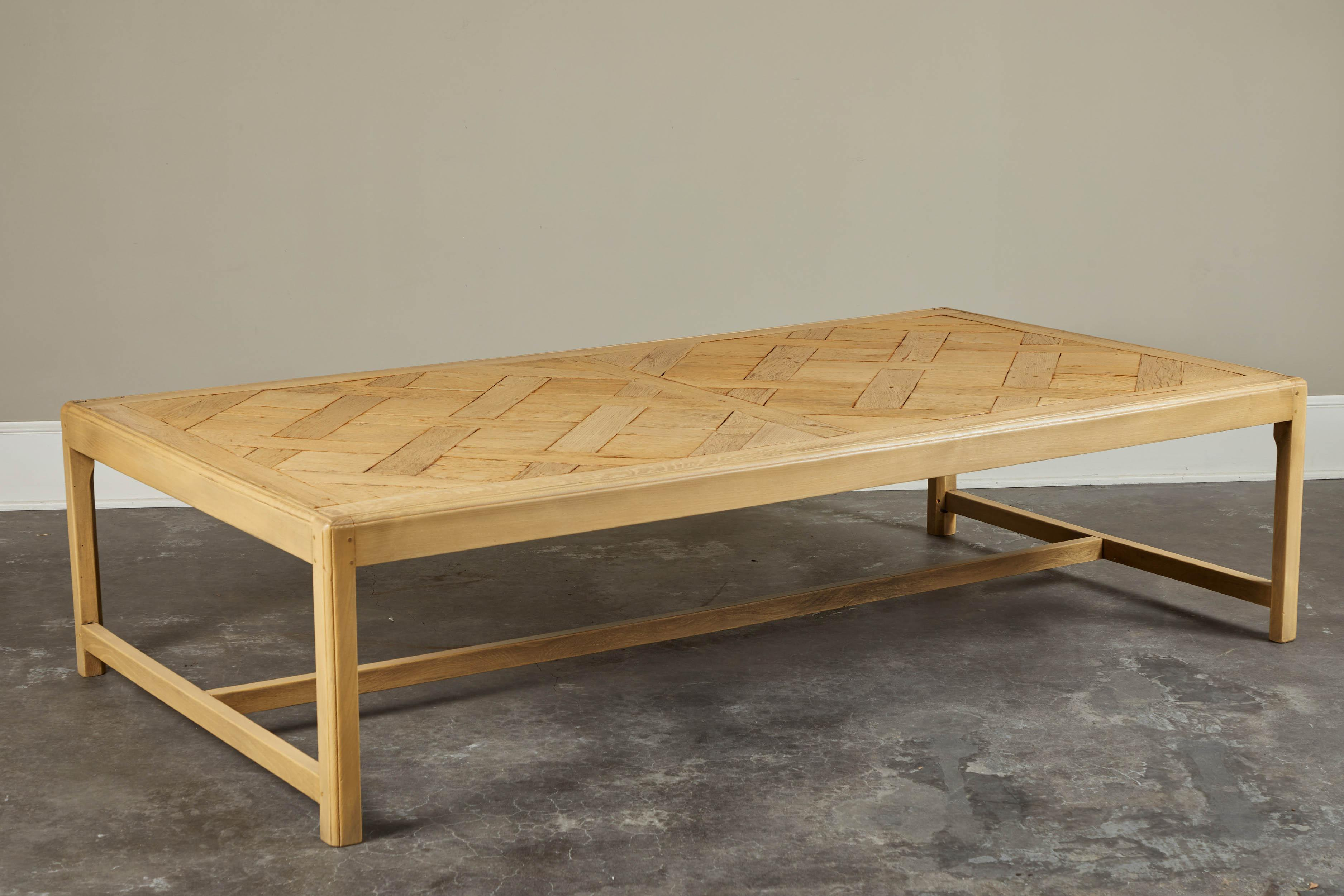 20th C. French Parquet Bleached Oak Coffee Table