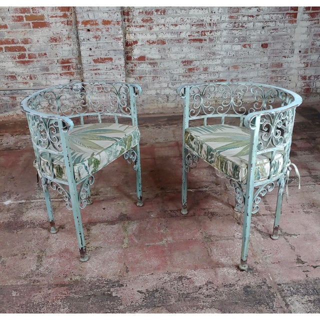 Art Nouveau Antique Cast Iron Patio & Garden Settee & 2 Chairs Set For Sale - Image 4 of 10