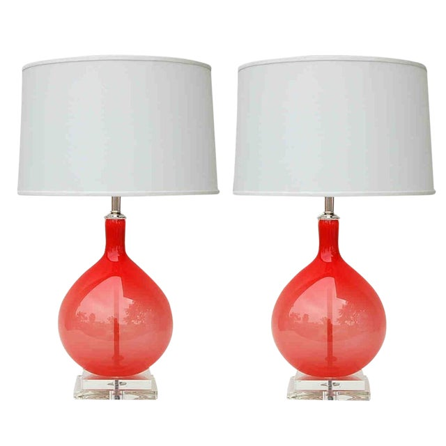 Joe Cariati Hand Blown Glass Table Lamps Red For Sale