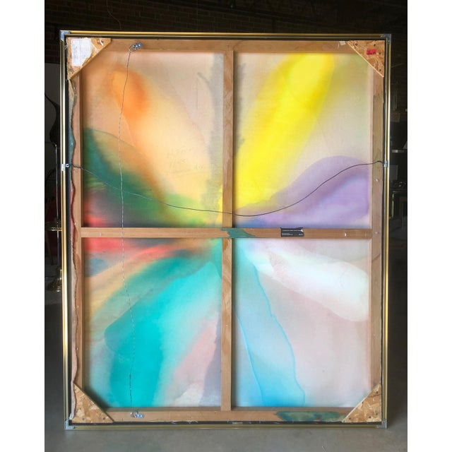 """Framed abstract titled """"Through Aix"""" and dated 1985 by Harold Feist. Not unlike the works of Helen Frankenthaler, this..."""