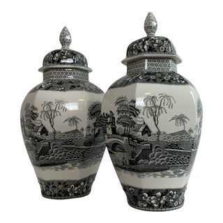 Late 20th Century Spode Transfer-Ware Ginger Jars- - a Pair For Sale