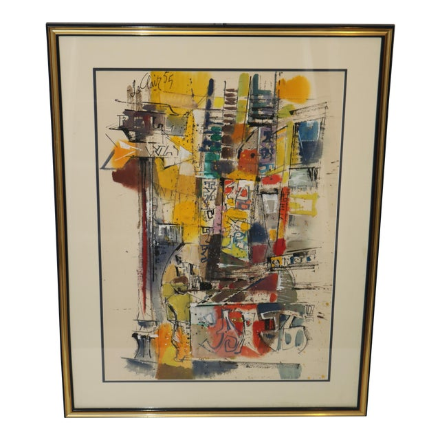 Vintage 1955 Charles LeClair Abstract Framed Watercolor Painting For Sale