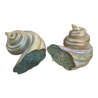 Shell Form Glass Art Bookends - a Pair For Sale