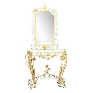 Cast Iron Floral Iron Vanity & Mirror - A Pair