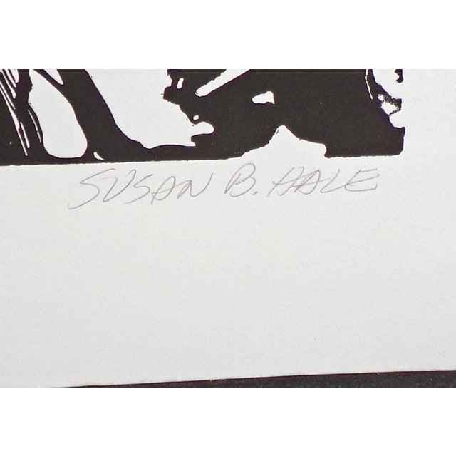 """Susan B. Hale Kemenyffy """"Portrait of Janel : Mirror Away"""" Signed Vintage Linocut Unframed For Sale - Image 4 of 8"""