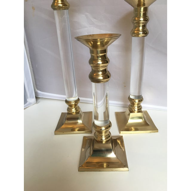 Lucite & Brass Candleholders - Set of 3 - Image 3 of 5