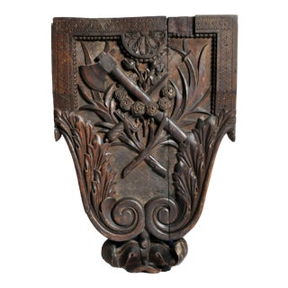 Hand Carved Crest from a Chateau For Sale