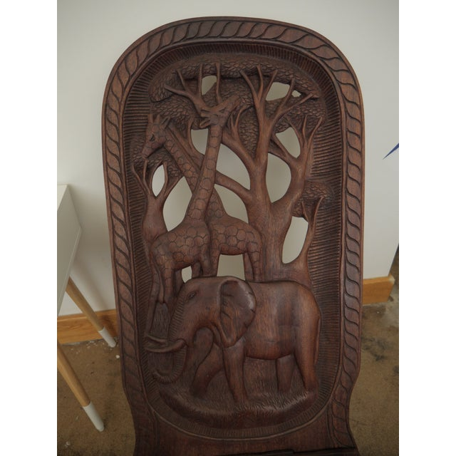 Brown 20th Century African Mahogany Bantu Carved Tribal Chief Chairs - a Pair For Sale - Image 8 of 10