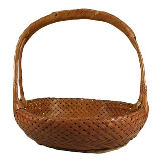 Antique Japanese Shallow Bamboo High Handle Basket For Sale