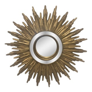 Hollywood Regency Gilded Sunburst Mirror For Sale