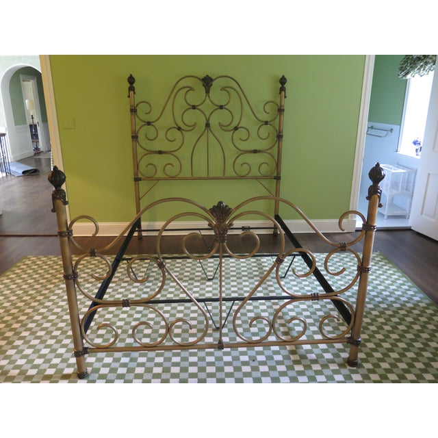 Vintage Victorian Style Metal High Back Queen Size Bed Frame For Sale - Image 12 of 12