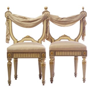 20th C. Italian Style Classical Swag Chairs - a Pair For Sale