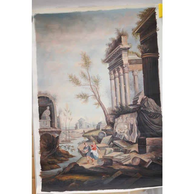 Oil on Canvas painting of an Ancient Ruins by a River. Painting was found at a Paris flea market. The painting is un-...