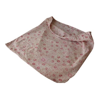 Vintage 1920-30's French Pink Floral Cotton Drawstring Bag Laundry Sack For Sale
