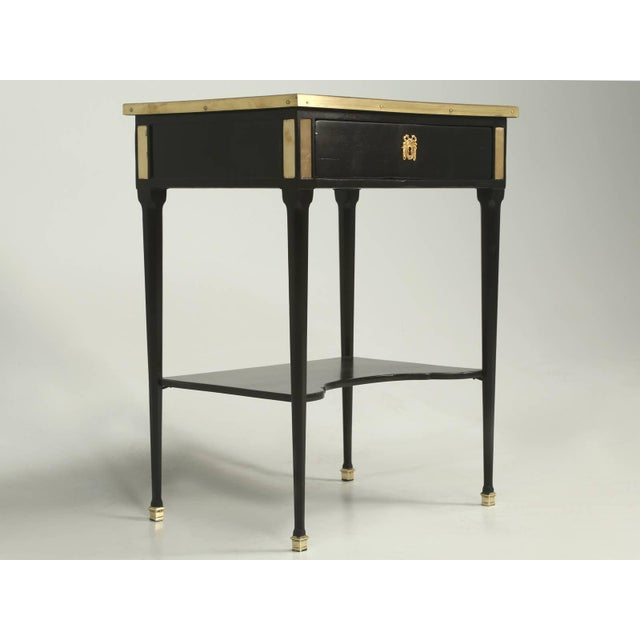 Antique French Louis XVI Style End or Side Table in an Ebonized Mahogany Finish For Sale - Image 10 of 10