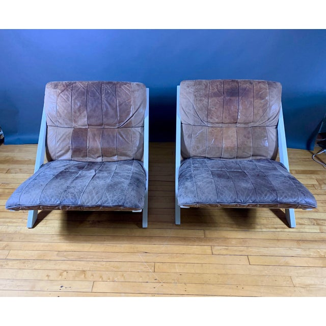 "Pair Swiss Leather ""X-Chair"" by Ueli Berger for De Sede, 1970s For Sale - Image 10 of 12"