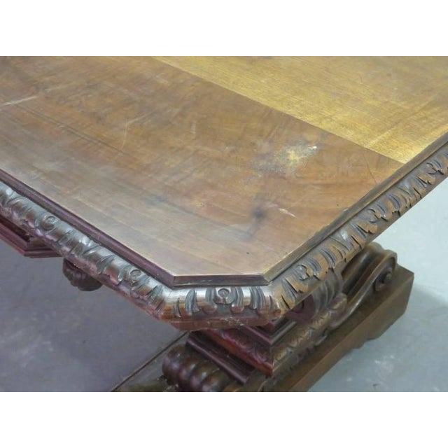 19th Century Carved Walnut Dining Table For Sale - Image 4 of 10