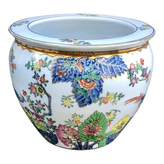 1930s Vintage Chinese Meiji Period Enameled Porcelain Fish Bowl Planter For Sale