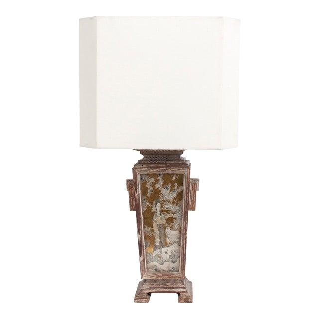 James Mont Asian Cerused Oak Lamp For Sale