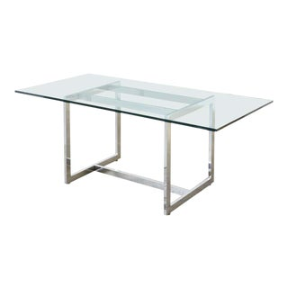 Milo Baughman Midcentury Chrome and Glass Dining Table For Sale