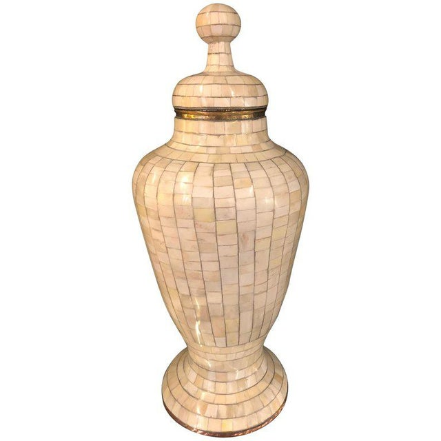 Beautiful Antique Natural Bone Over Brass Urn For Sale - Image 12 of 12