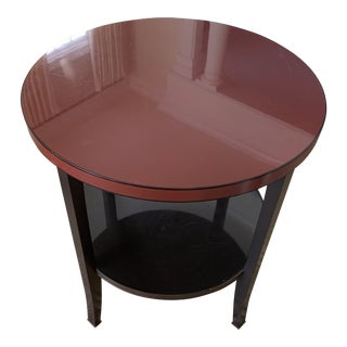 Bill Sofield for Baker Ebony and Deep Red Lacquered Round Tiered Modern Eclipse Table For Sale