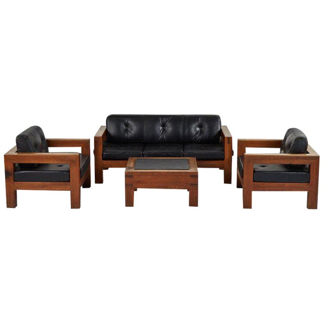 Mid-Century Modern Sofa, Chairs and Coffee Table Salon Set - 4 Pc. Set